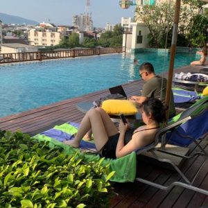 Arrived in Chiang Mai in time for a quick afternoon dip. This is the first evening at our hotel in Laos.