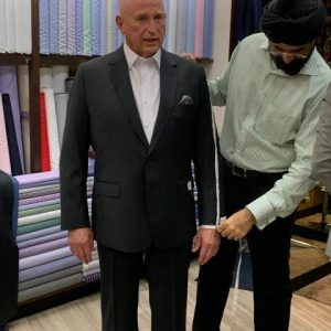 Here we are at the final fitting for the suit Ray got in Bankok.  $366 for a fine wool suit and a custom-made shirt.  Doesn't he look dapper?
