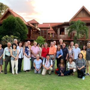 Here is our whole group at the house that we had dinner at with a local family.  They happen to also own a restaurant so their food was amazing.  The house is 100% teak.