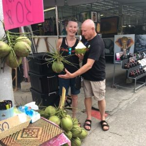 The one thing I miss upon my return is those beautiful, luscious coconuts full of that delicious coconut water.  Nothing like we get home here, especially in the can. They cost about a dollar.